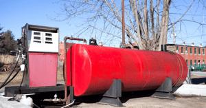 remote red above ground fuel storage tank