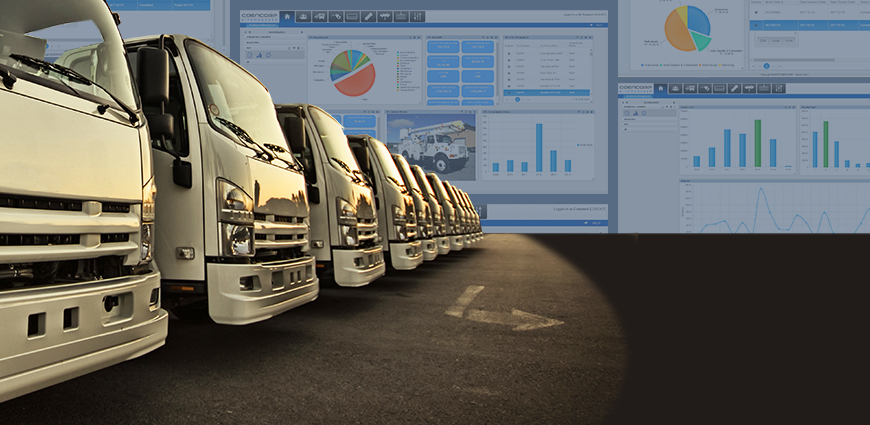 Row of white delivery vehicles operated with a fleet management system.