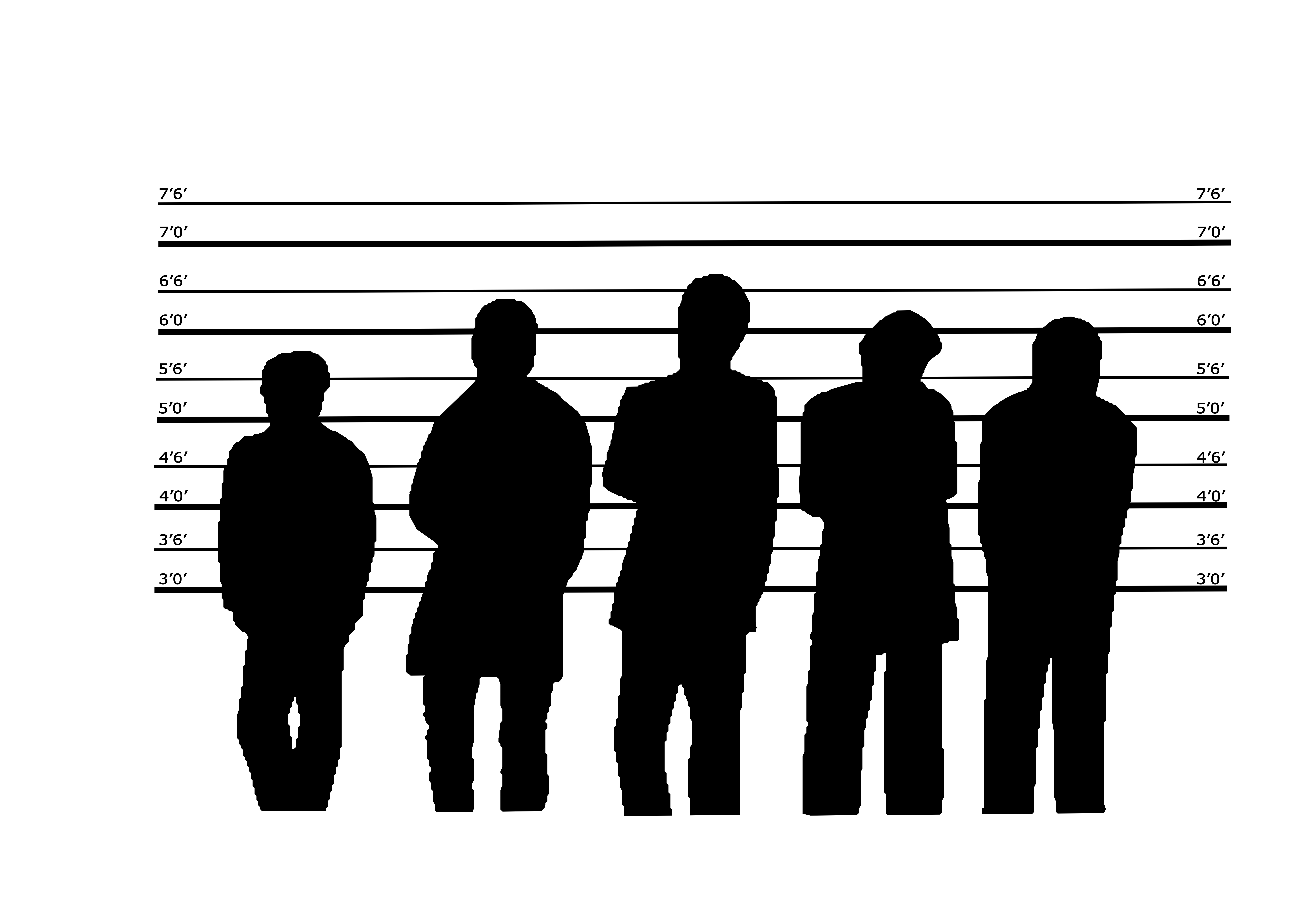 Silhouette of 5 criminal suspects in a police line-up representing the 5 main fleet mechanical failures.